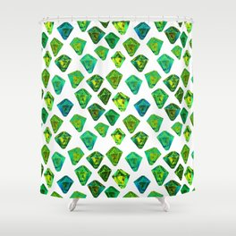 Green gemstone pattern. Shower Curtain