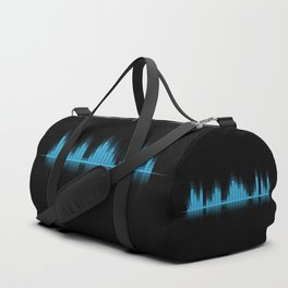 Cool Blue Graphic Equalizer Music on black Duffle Bag