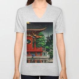 In the rain-Asakusa Sensouji temple Unisex V-Neck