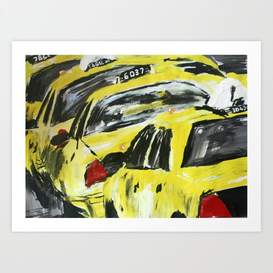 New York Taxis Fine Art Acrylic Painting Art Print