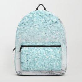 Turquoise Sea Mermaid Glitter Marble Backpack