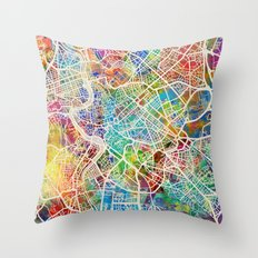 Rome Italy Street Map Throw Pillow