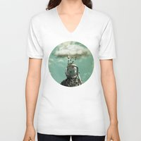rain V-neck T-shirts featuring Rain by Seamless