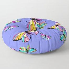Modern Rainbow Colored Butterflies On Lavender Blue Floor Pillow