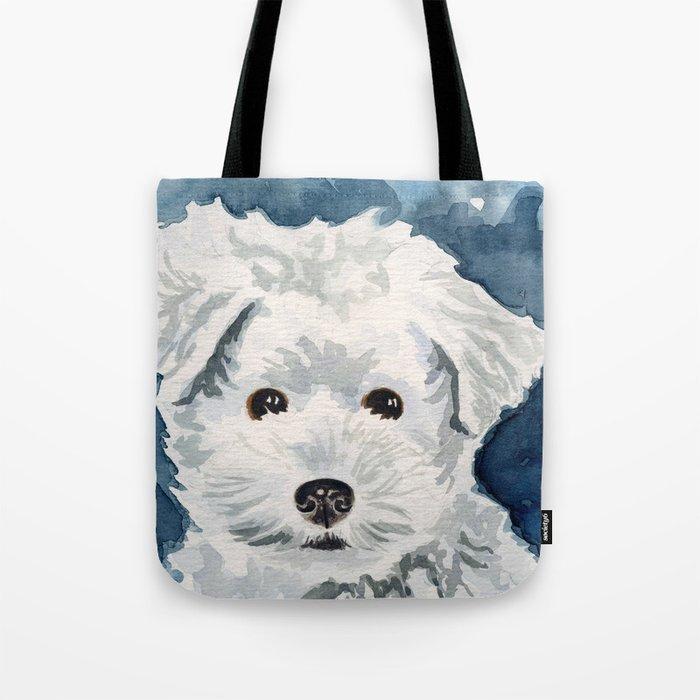 Bichon Frise Watercolor Tote Bag