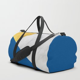 Carrara marble with gold and Pantone Lapis Blue color Duffle Bag