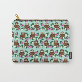 Sloth and Hibiscus Carry-All Pouch