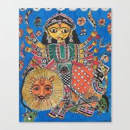 Madhubani - Blue Durga Canvas Print