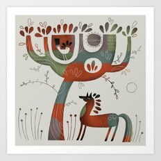 HORSE AND TREE Art Print