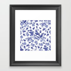 Pattern with blue watercolor birds Framed Art Print