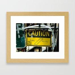 Caution: Love Hurts Framed Art Print