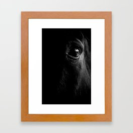 BW horse eye Framed Art Print