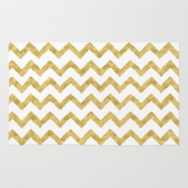 Chevron Gold And White Rug