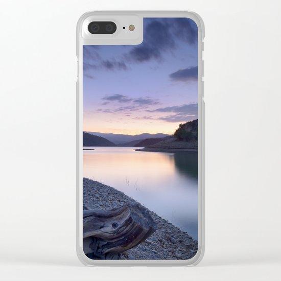 """Mountain light"". Blue sunset II. Clear iPhone Case"