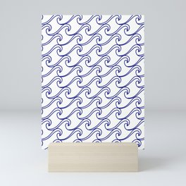 Rough Sea Pattern - blue on white Mini Art Print