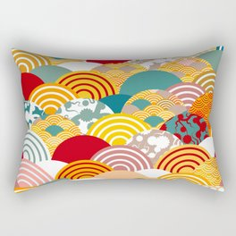 Nature background with japanese sakura flower, orange red pink Cherry, wave circle pattern Rectangular Pillow