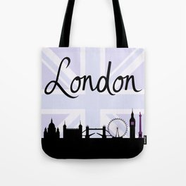 London Script on Union Jack Sky & Sites Purple Tote Bag