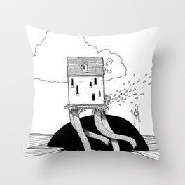 Walking House Throw Pillow