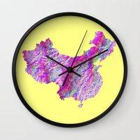china Wall Clocks featuring China by mthbt