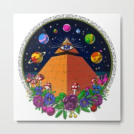 Psychedelic Magic Mushrooms All Seeing Eye Metal Print