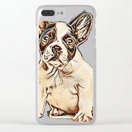 French bulldog puppy portrait on a white background        - Image Clear iPhone Case