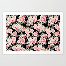 Pink Roses, White Jasmine, Monarch Butterflies, Pomegranate Heart Shapes on Black Art Print