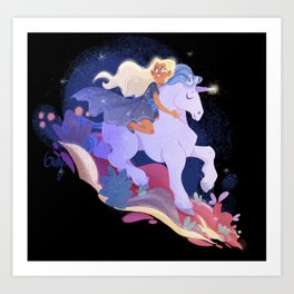Stardust - Yvaine and her Unicorn Art Print