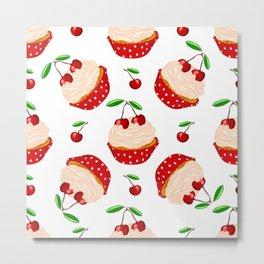 Cupcake With Cherries Pattern Metal Print