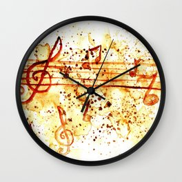 Coffee stains and music notes Wall Clock