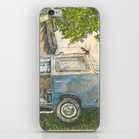 vw bus iPhone & iPod Skins featuring VW Camper Bus by Barb Laskey Studio