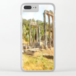 Fallen Ruins of Euromos Watercolor Clear iPhone Case