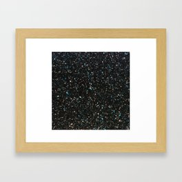 Terrazzo black with turquoise opaque Framed Art Print