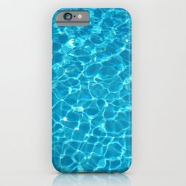 Swimming pool water texture with light reflections iPhone Case