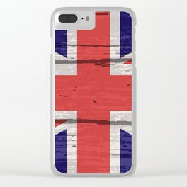 Union Jack UK Flag On Old Timber Clear iPhone Case