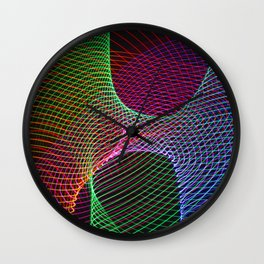 Rainbow lines and patterns Light Painting Wall Clock