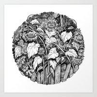 sunflowers Art Prints featuring Sunflowers by Natalie Berman