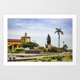 Statue of Cordoba by Lake Nicaragua in Granada Art Print