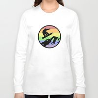 snowboarding Long Sleeve T-shirts featuring snowboarding 2 by Paul Simms