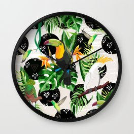 Birds and tropical plants Wall Clock