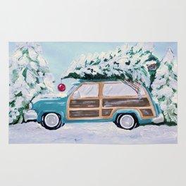 Blue vintage Christmas woody car with pine tree Rug