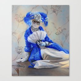A Woman in blue gown and the Venetian Mask: Hidden Canvas Print
