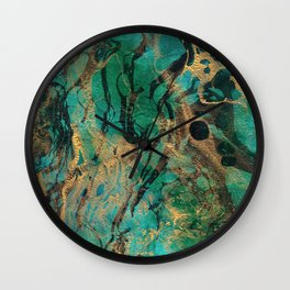 Green and Gold marbled paper Wall Clock