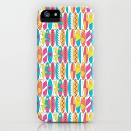 Rainbow Colored Waikiki Surfboards iPhone Case