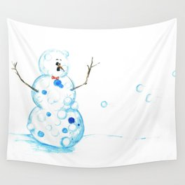 Snowman in a Snowball Fight! Wall Tapestry