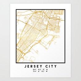 JERSEY CITY NEW JERSEY STREET MAP ART Art Print