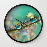 anaconda Wall Clocks featuring Smokey Rainbow Drops by Sharon Johnstone