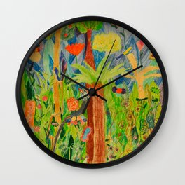 Paradise Delight | Kids Painting by Elisavet Wall Clock