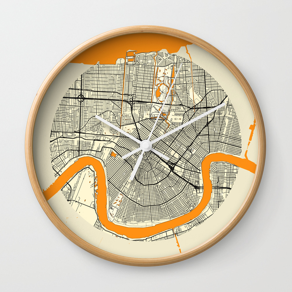 New Orleans Map Moon Wall Clock by Hubertroguski CLK7246613