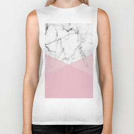 Real White marble Half Rose Pink Modern Shapes Biker Tank