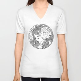Girl with peonies Unisex V-Neck